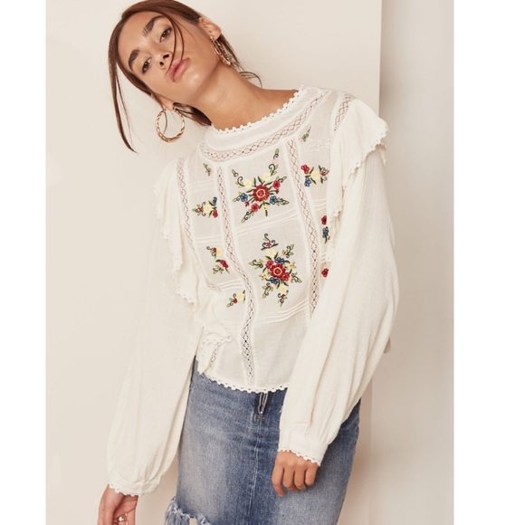 cbe63f188e924d Free People Tops | Nwt Amy Ruffle Trim Embroidered Top S | Poshmark